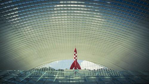 Fusée lunaire de Tintin - Gare de Liège-Guillemins- Photo : Gilderic