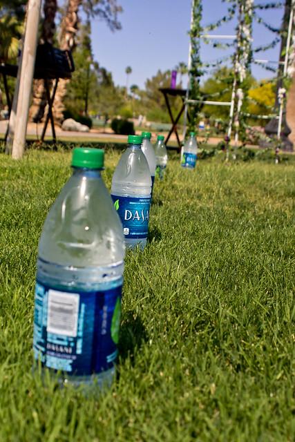Artsy water bottle shot
