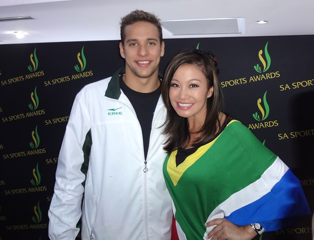 5 FM Hollywood Reporter Jen Su with Olympic Gold Medalist Chad Le Clos