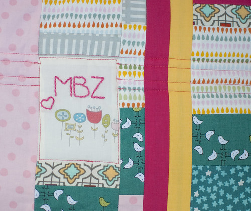 Baby Girl Strip Quilt Monogram