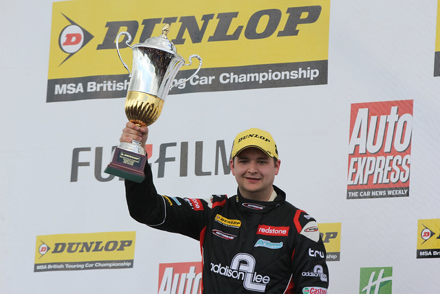 Mat Jackson with his trophy after coming third at the BTCC race at Donington Park in April 2012
