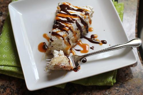 overhead bite of banana cream pie