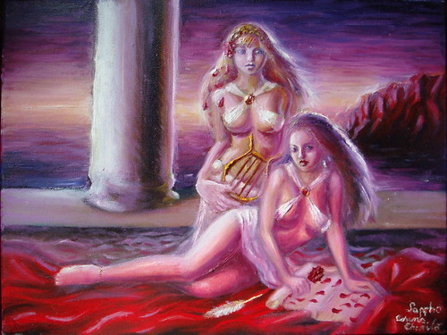 The poet Sappho oil on canvas painting - Poeta Sappho din Grecia antica pictura ulei pe panza by Kore Maiden