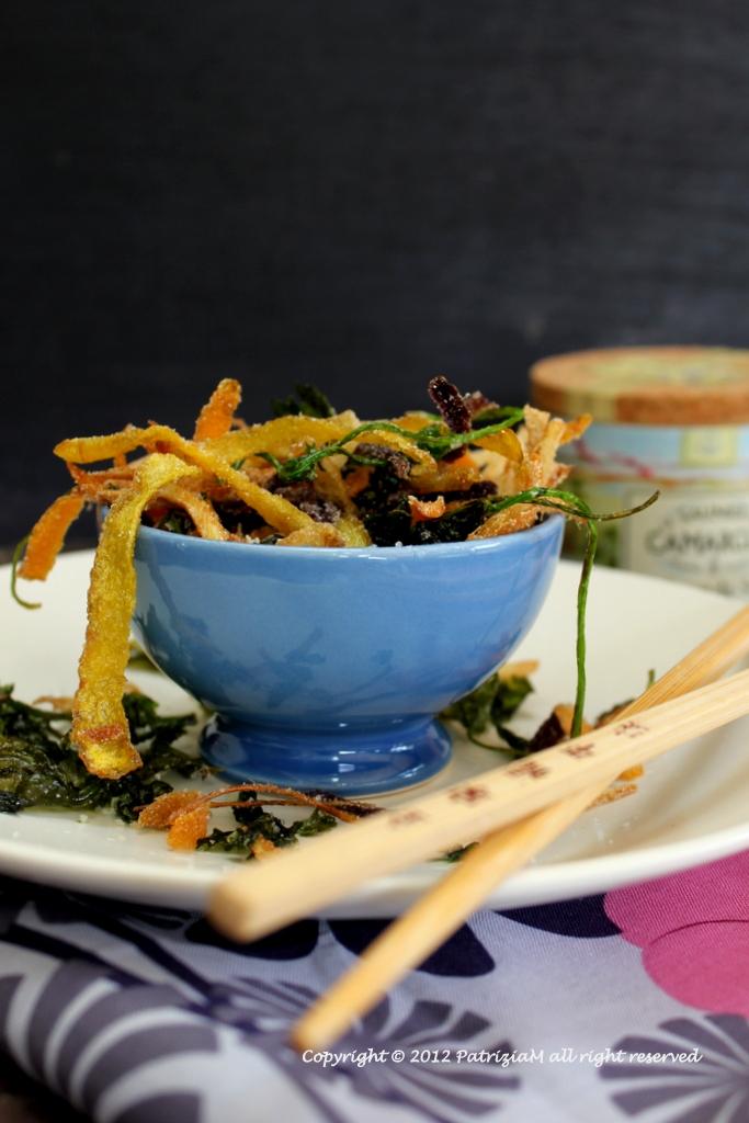 Bucce di carote fritte con zenzero e coriandolo à la fleur de sel