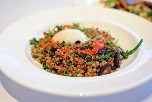 farro broccoli di cicco, shiitake mushrooms, green onions, chili sauce, slow cooked egg