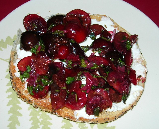 Cherry Salsa on Bagel
