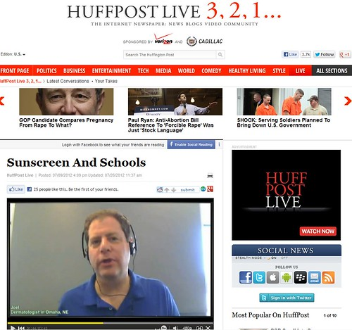 Joel Schlessinger MD featured as an expert on Huffington Post about sunscreen use in schools