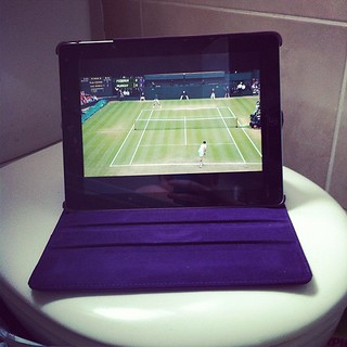 Watching the Wimbledon Men's final in the bath. Go Murray!