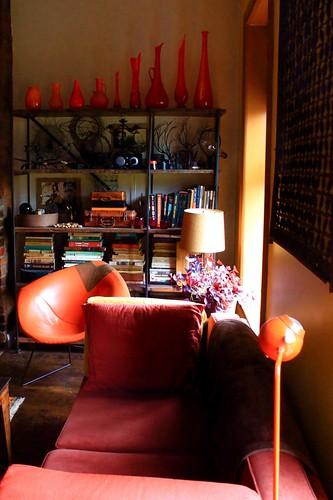 orange glass & rust velvet by denise carbonell