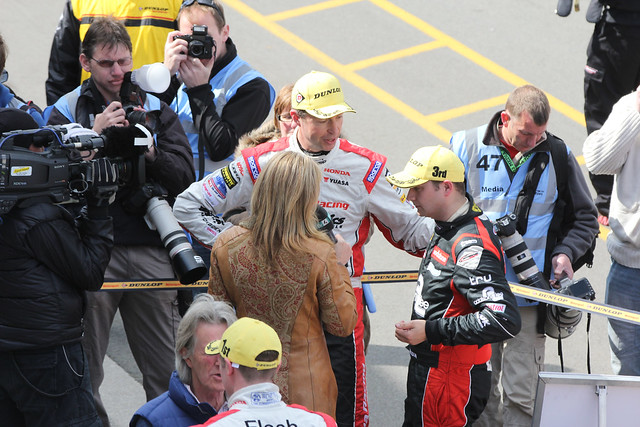 ITV's Louise Goodman interviews Mat Jackson after his third place in BTCC at Donington Park in April 2012