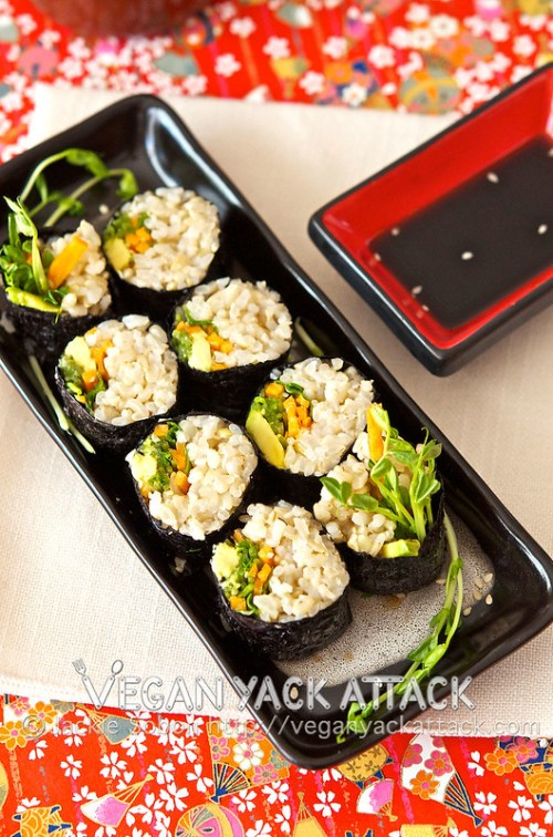 This Brown Rice Veggie Roll is a basic, but delicious, recipe! I substituted white with brown rice for a healthier roll, and used fresh veggies as filling.