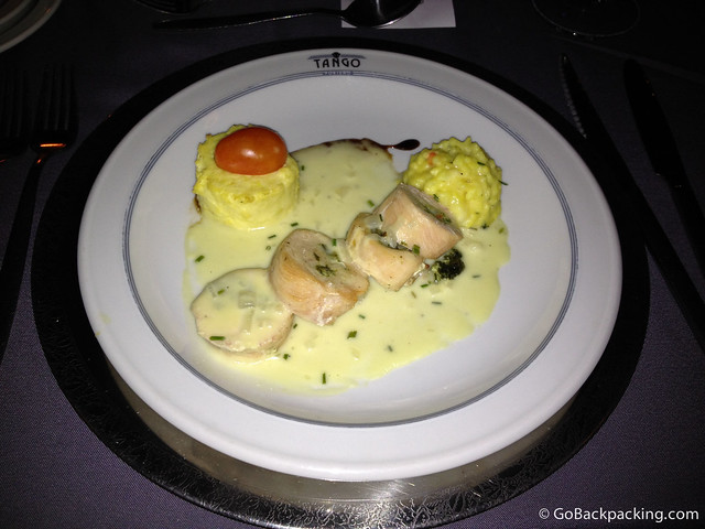 Organic chicken breast with arugula and Parmesan cheese with Risotto's saffron and leek souffle