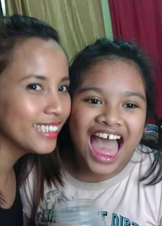 Making faces with daughter