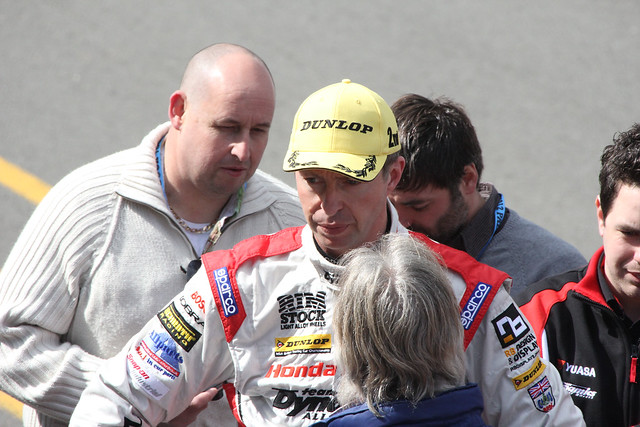 Matt Neal being interviewed after his second place in BTCC at Donington Park in April 2012