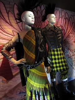 Paris-Glasgow-Delhi sari-style gown, Paris and Its Muses collection, haute couture FW 2000-2001. Biker demi-jacket, Louise Brooks Meets Easy Rider collection, women's prêt-à-porter SS 2001.