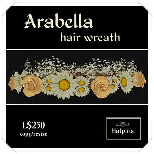 Hatpins - Arabella Hair Wreath - Peach Roses