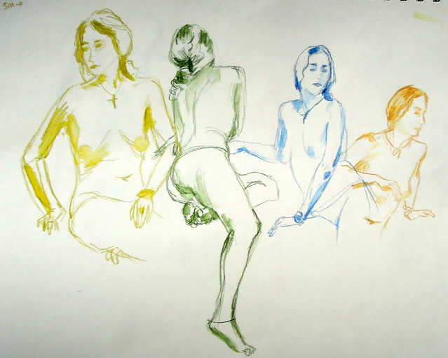 Sketches of the model in 5-minute poses