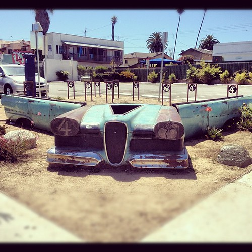 Awesome car turned bench in Long Beach