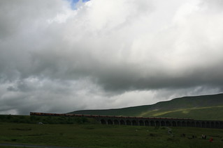 Ribblehead viaduct and goods train (a few weary walkers to)