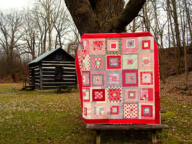 Red + Gray Squares quilt