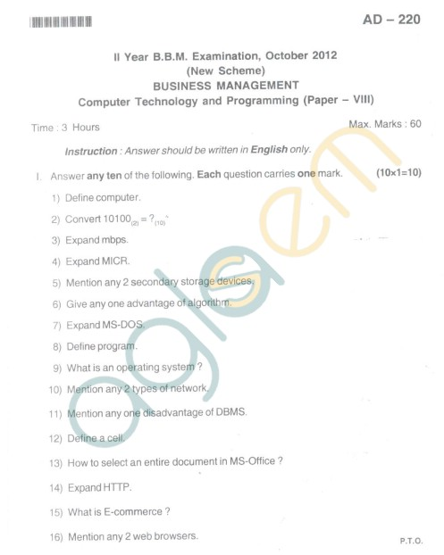 Bangalore University Question Paper Oct 2012 II Year BBM - Business Management Paper VIII Computer Technology and Programming