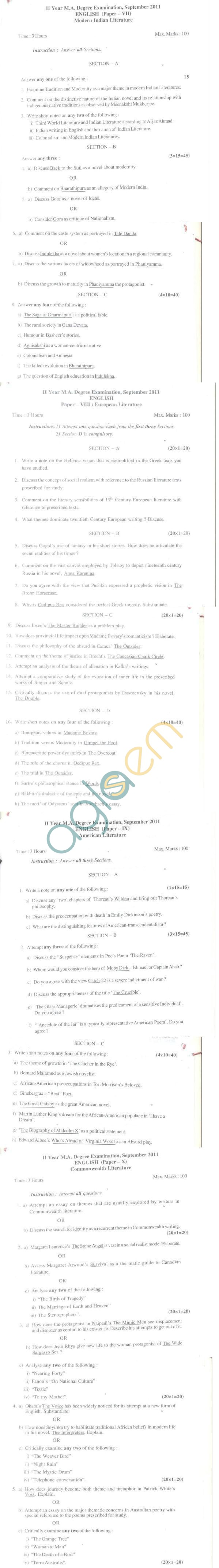 Bangalore University Question Paper September 2011 II Year M.A. Degree Examination - English (Paper-VIII)