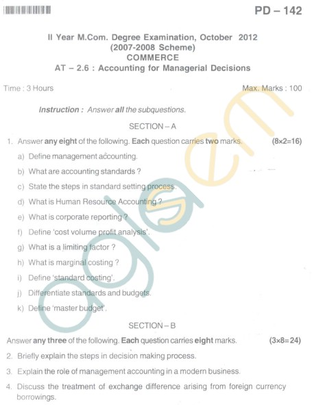 Bangalore University Question Paper Oct 2012 II Year M.Com. - Commerce Accounting For Managerial Decision