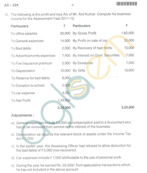 Bangalore University Question Paper Oct 2012III Year BBM - Business Management Income Tax(PaperIV)