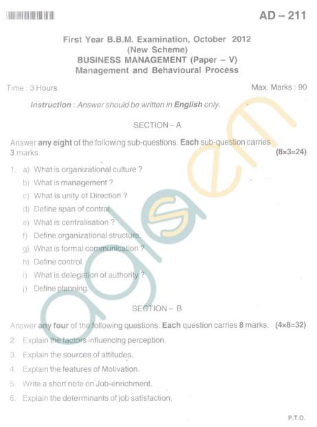 Bangalore University Question Paper Oct 2012I Year BBM - Business Management-Paper V