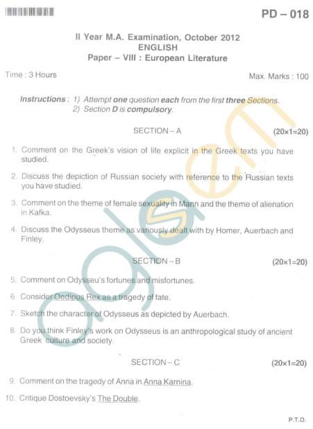 Bangalore University Question Paper Oct 2012:II Year M.A. - English Paper VIII European Literature
