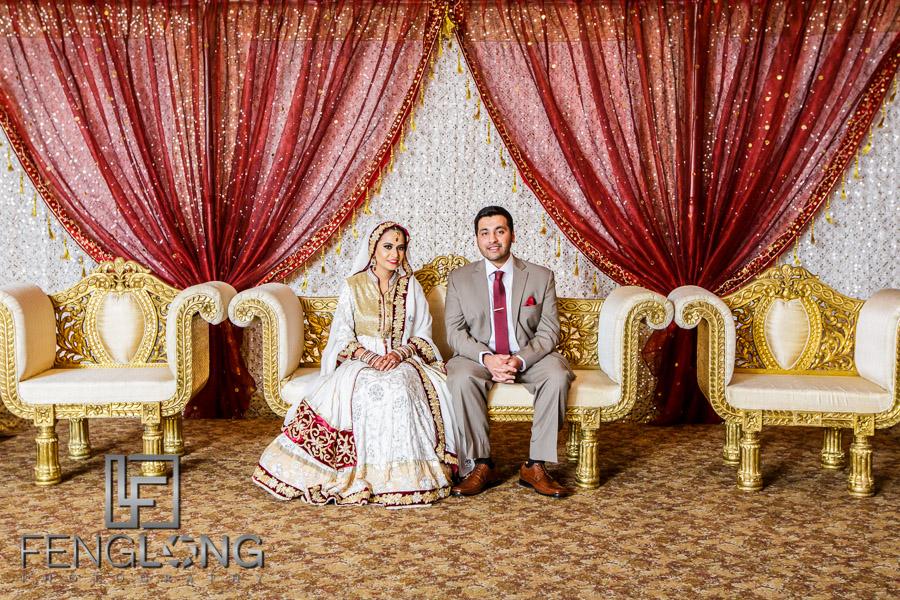 Bride and groom on stage during Muslim Indian wedding