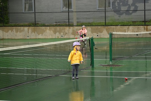 Post bike jaunt around the tennis court