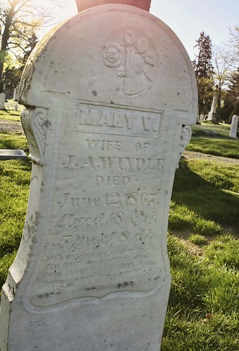Headstone of Mary V. Windle, Dublin Cemetery, Ohio. Photo copyright Jen Baker/Liberty Images; all rights reserved.
