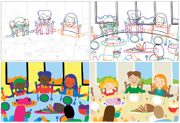 Spot illustrations for activity book