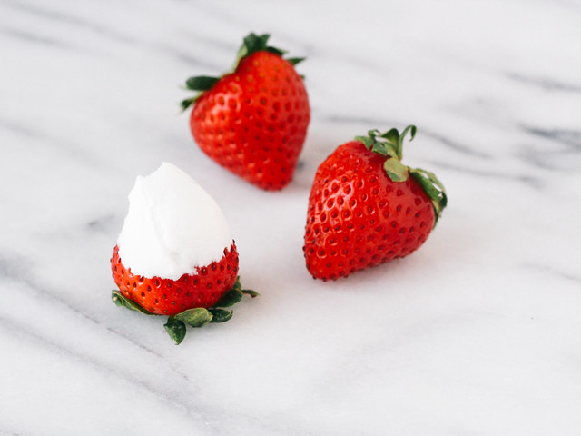 Strawberries and coconut whipped cream