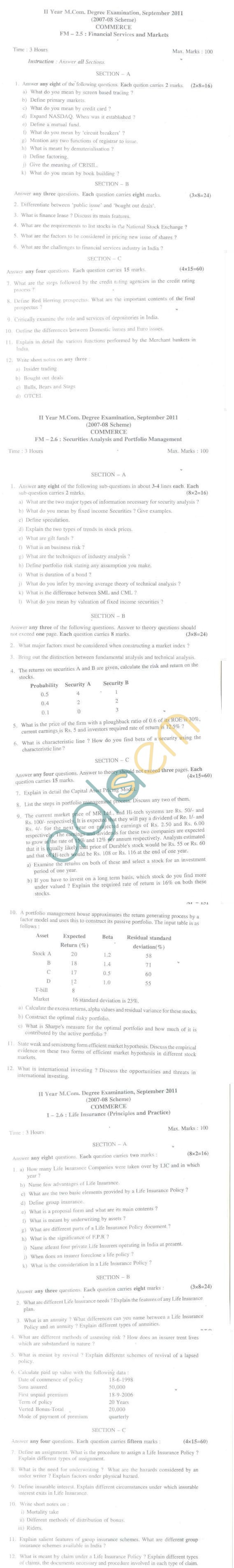 Bangalore University Question Paper September 2011 II Year M.Com.Degree Examination - Commerce