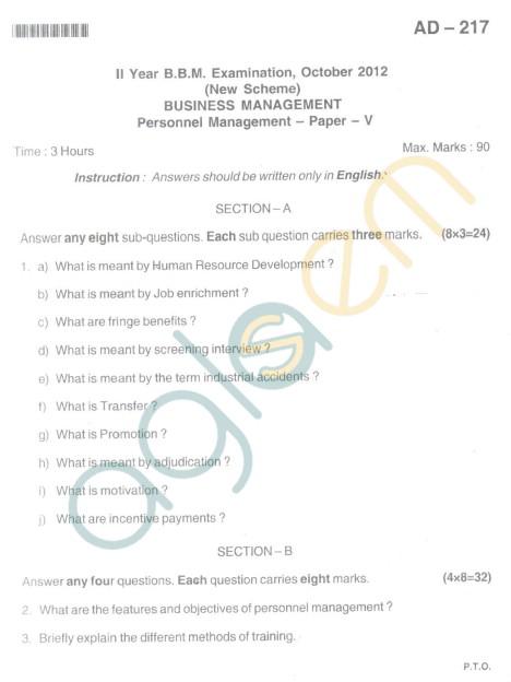 Bangalore University Question Paper Oct 2012II Year BBM - Business Management Personnel Management (Paper V)