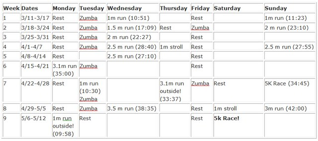 5k training schedule