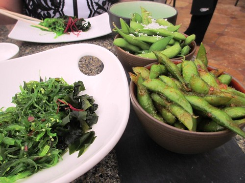Seaweed Salad and Edamame Served Two Ways with Sea Salt and Sweet Chili, Yellowtail at Bellagio Las Vegas, April 2013