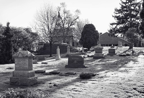 Broad view of Dublin Cemetery, Dublin Ohio, in black & white. Photo copyright Jen Baker/Liberty Images; all rights reserved.