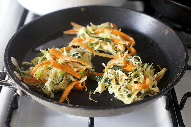 tangles of cabbage, carrot and kale