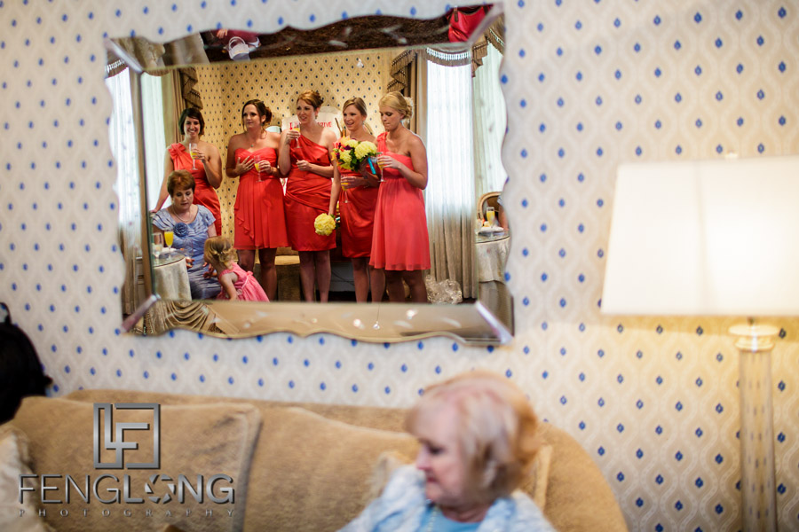 Bridesmaids reflected in the mirror