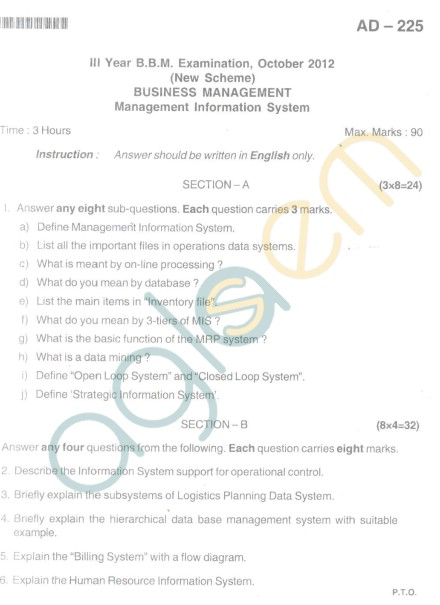 Bangalore University Question Paper Oct 2012III Year BBM - Business Management Information System