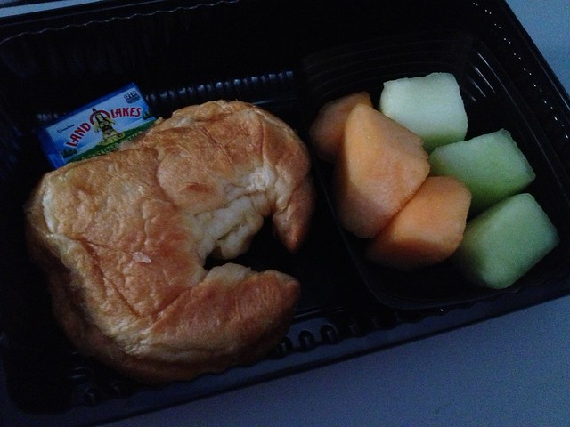Croissant and fruit - United Airlines