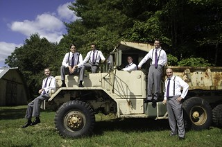 Groomsmen on Truck