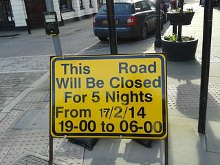 Road Closed 17/02/2014