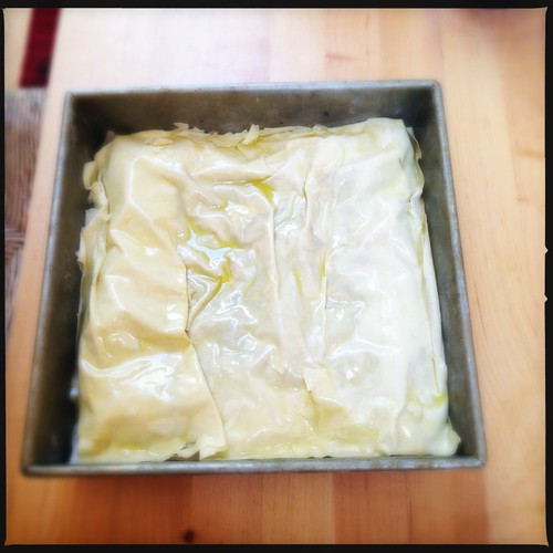 Another herb pie from #TastingJrslm.  Assembly 3, ready for the oven.
