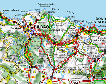 Mapa Estradas Bilbau
