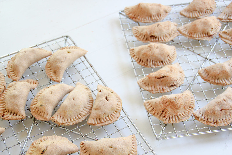 samosas and pear pies (made from a wholewheat-spelt pastry)