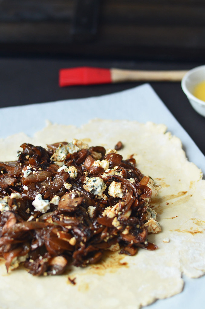 Blue Cheese and Caramelized Onion and Mushroom Galette  Fork Vs Spoon